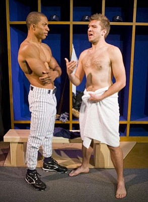 Jacques Cowart II plays gay MLB star Darren Lemming (left) and Johnny Kostrey plays his teammate Toddy Koovitz in Richard Greenberg's <em>Take Me Out</em>.
