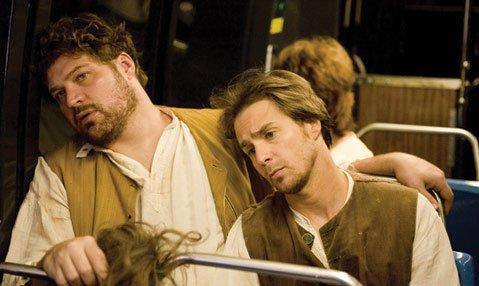 Brad William Henke (left) and Sam Rockwell star in <em>Choke</em>.