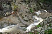 Narrows between first and second creek crossings has cascading falls and pools.