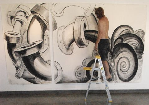 "The artist working on ""Pipeline"" (2008)."