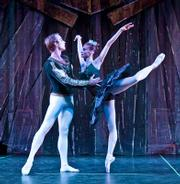 Yevgeni Anfinogenov as Prince Siegfried and Victoria Luchkina as Odile, Rothbart's daughter.