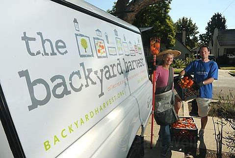 Backyard Harvest program director Doug Hagensen (right) and volunteer Nicola Gordon