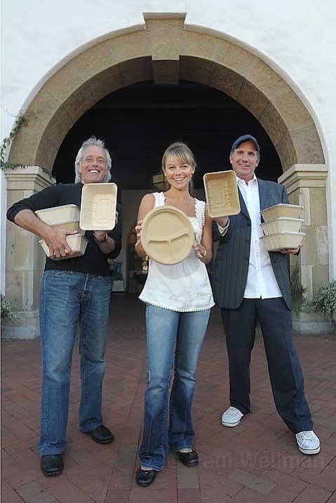 Bulrush bucks:  Be Green Packaging's chairman Robert Richman, eco-adviser Megan Havrda, and director Ron Blitzer.