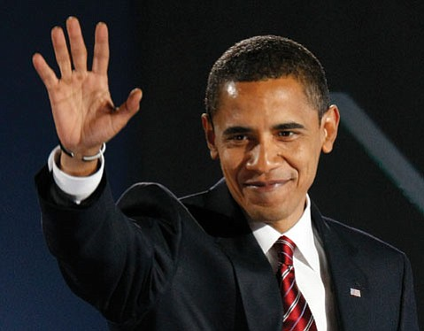 LONG-AWAITED WAVE:  President-elect Barack Obama waves after giving his acceptance speech at Grant Park in Chicago on Tuesday night. Santa Barbara voters should be happy with the outcome: With nearly 140,000 ballots cast in the county, nearly 60 percent went in Obama's favor.