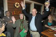Margaret Connell and Ed Easton learn they have won their seats on the Goleta City Counsel