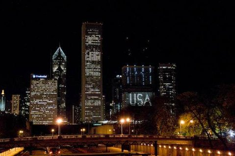 The city of Chicago on election night 2008.