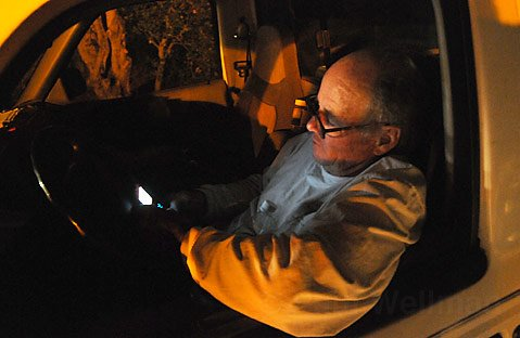 Steve Dunn, a Mountain Drive resident who was not allowed to go to his home and worried about his 90 year-old father, gets a welcome text message that his family evacuated safely.