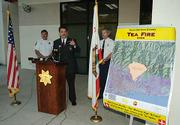 A press conference at the Santa Barbara Sheriff's Department announcing that suspects in the Tea Fire have been identified by authorities.