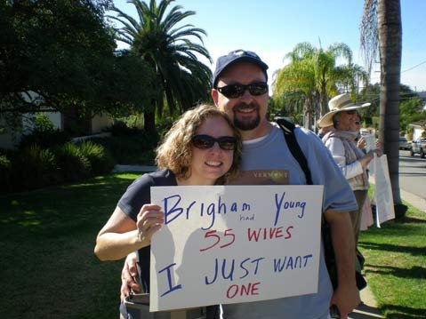 Event organizer Debra Guckenheimer protests with Michael Bourgeois in front of S.B.'s Mormon Church on Santa Barbara Street on Sunday. Protestors across the country are targeting the Mormon Church because its members contributed more than $20 million to the Yes on 8 campaign.