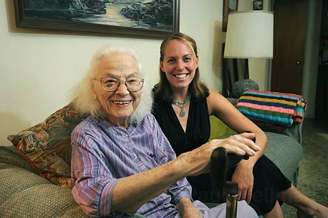 98-year-old Isla Vista resident Nora Finley (left) with friend Olivia Gleser