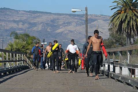 Lifeguards from Tijuana, Rosarito, and Ensenada participate in training offered by the Santa Barbara Chapter of the American Red Cross at The Goleta Pier
