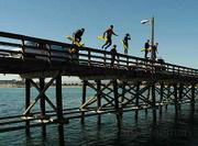 Pier Rescue training starts with a big first step into chilly November ocean waters