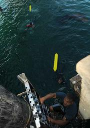 After jumping in and practicing pulling a person to safety its back up the ladder to the pier to do it again