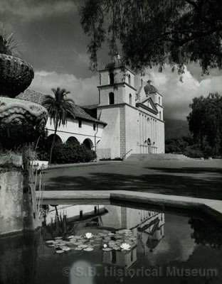 Karl Obert originally came to California in the late 1920s to photograph the state's lush landscape, as exemplified by this picture of the Santa Barbara Mission (taken in the 1950s).