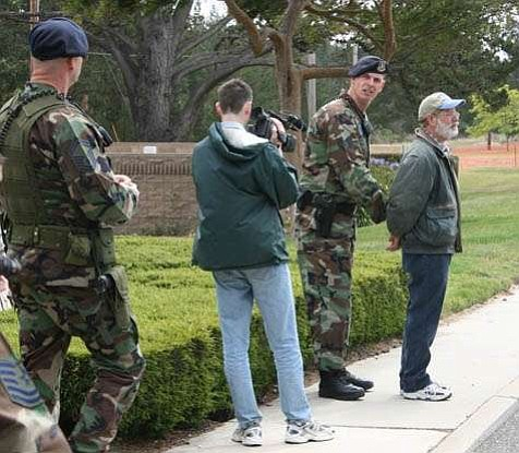 Dennis Apel on Vandenberg Air Force Base, where he is pictured being arrested in May 2007.