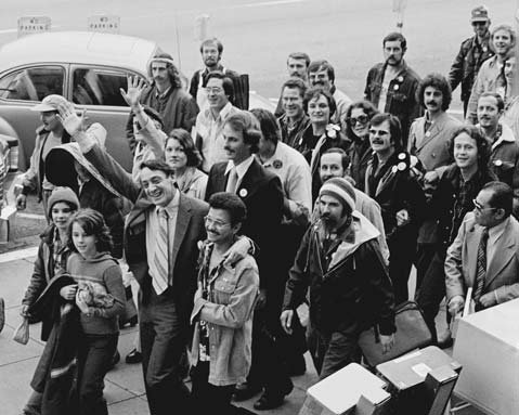 On his first official day in office on January 9, 1978, Harvey Milk walked from San Francisco's Castro District to City Hall with his supporters.