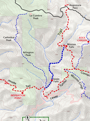Route up the West Fork to Mission Falls is highlighted in bold.