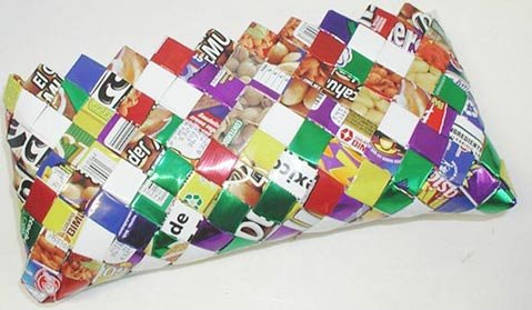Mexican candy wrapper purse from Arcobaleno Trade.