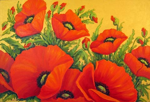 Beautiful paintings of poppies and other flowers by Mirella Olsen.