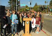 Supervisor Janet Wolf speaking at the press conference