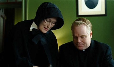 Meryl Streep (left) and Philip Seymour Hoffman (right) star in Doubt.