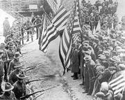 A scene from the Lawrence Textile strike in 1912.
