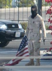 Edward Van Tassel on the La Cumbre overpass during the Nov. 3, 2008 protest that closed the 101 freeway in both directions for over 3 hours