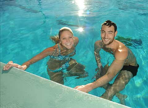 Gaucho swimmers Bradley Matsumoto and Anne Marie May tear it up in the water.