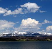 """Absaroka Mountains (from Storm Point Trail at Yellowstone Lake) named after Absaroka tribe, whom Europeans dubbed the """"Crow"""" tribe. Absaroka means """"great winged bird""""."""