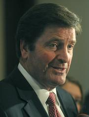 Lt Governor John Garamendi explains to the media why is is against the PXP lease agreement