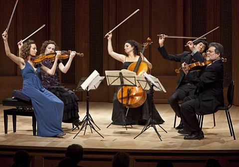 From left to right: Nurit Pacht, Catherine Leonard, Ani Aznavoorian, Richard O'Neill, and Toby Appel performing Mozart.