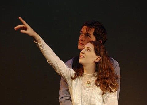 Lydia Rae Benko as Nina Mikhailovna Zarechnaya and Merlin Huff as Konstantin Gavrilovich Treplyov in <em>Seagull</em>.