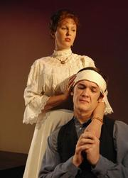 "Natasha Lloyd (l) as Irina Nikolayevna Arkadina & Merlin Huff as Konstantin Gavrilovich Treplyov in ""Seagull"""