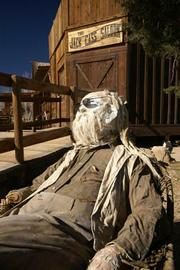 Hollywood-built Wild West outposts such as Pioneertown , where glass-blowers and musicians now occupy a former movie set.