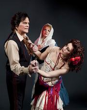 Michael Hayes as Don Jose, Rena Harms as Micaela, and Emily Langford Johnson as Carmen in Opera Santa Barbara's upcoming production of the Bizet classic.
