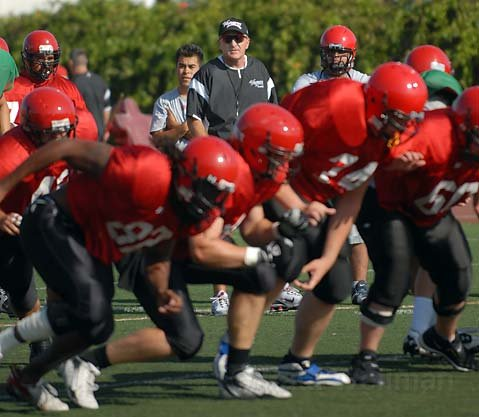SBCC Football Coach Craig Moropoulos at practice in 2007
