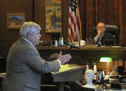 Defense attorney Doug Hayes makes his closing statements to the jury