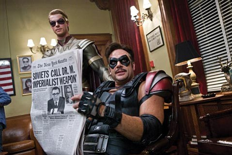 Matthew Goode is Ozymandias and Jeffrey Dean Morgan is The Comedian in <em>Watchmen</em>.
