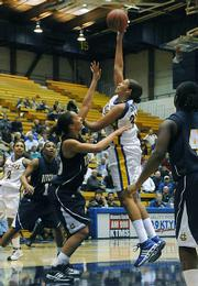 Jenna Green goes up against UC Riverside's Kemie Nkele at the Gauchos' home court victory over the Highlanders in January. The two teams will likely meet again at the Big West Basketball Tournament this weekend.