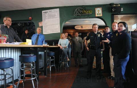 Approximately 30 business owners and residents met at The Neighborhood bar on Montecito Street to discuss ongoing problems, concerns, and possible solutions to issues with the homeless population on the lower Westside
