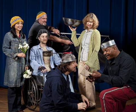 Some of S.B.'s top talents will perform in Sarah House: (from left) Jennifer Aquino, Tom Lackner, Devin Scott (in wheelchair), Matt Tavianini, Laurel Lyle, and Henry Brown.