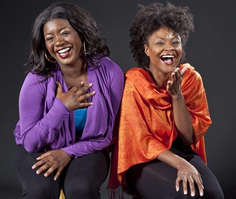 Julia Pace Mitchell (left) plays Nia, a teenager from Los Angeles, and Tiffany Adams (right) plays Abigail, a television journalist in Zimbabwe, in Ensemble Theatre's production of <em>In the Continuum</em>.