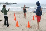 Jessica Morelos, a senior at Dos Pueblos was the second swimmer around the pier