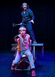 Matthew Tavianini (above) and Devin Scott in <em>One Day: Sarah House</em>, which runs through April 4 at Center Stage Theater.