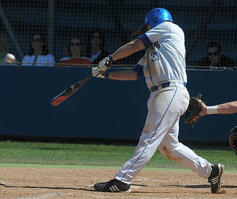 UCSB's Eric Oliver knocks a homer during Friday's game at Caesar Uyesaka Stadium to propel the Gauchos to a 9-8 victory over Pacific.