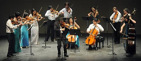 The full ensemble Sejong onstage with Gil Shaham for the Haydn concertos.
