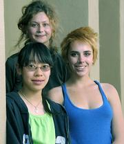 Winners among high school poets were (clockwise from left) Annie Kwong, Nitsa Pomerleau, and Kendall Burke.