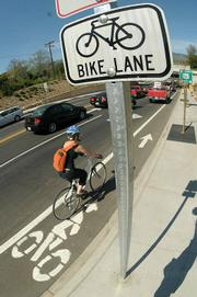 A new bike path on Mission street gives safer access to cyclists getting across town