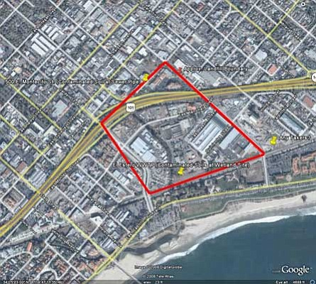 TOXIC QUADRANGLE:  Despite agreement that the area enclosed by the white line in the map above indicates the source of the contamination, debate exists as to what exactly is causing the taint and how harmful it is to groundwater and the ocean.