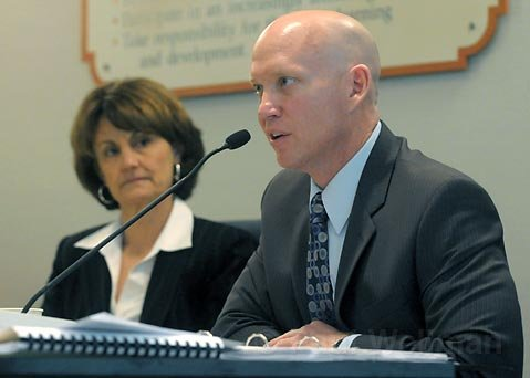 <strong>DOOM AND GLOOM:</strong>  For months now the Santa Barbara School District has known it would have to make some sizable budget cuts this spring. This week, Deputy Superintendent Eric Smith, pictured right, showed the Board of Education and the public what exactly those $3-million cuts might look like when they get voted on later this month.